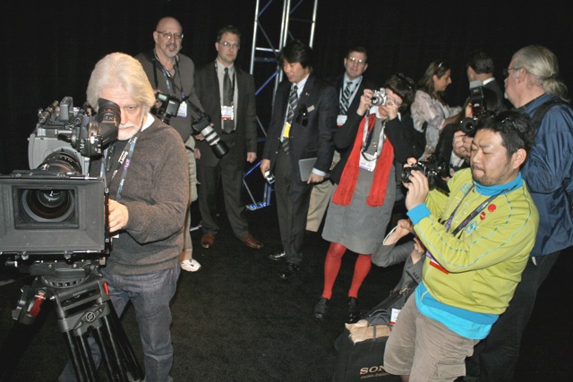 Cinematographer Curtis Clark, ASC, director of short film screened at Sony booth to demonstrate new Sony F65 (above) with 8K Super35-sized sensor.