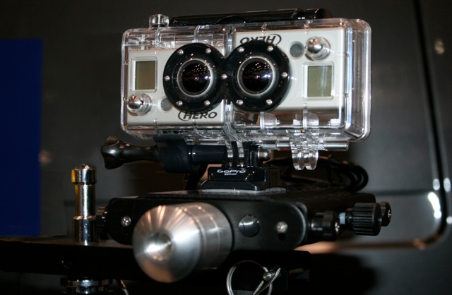 Not a robot with attitude but a GoPro HERO 3D system. Waterproof and 1080p.