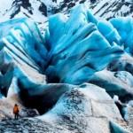 2.12.08 | Iceland/Svínafellsjökull Glacier An EIS team member provides scale in a massive landscape of crevasses on the Svínafellsjökull Glacier in Iceland.