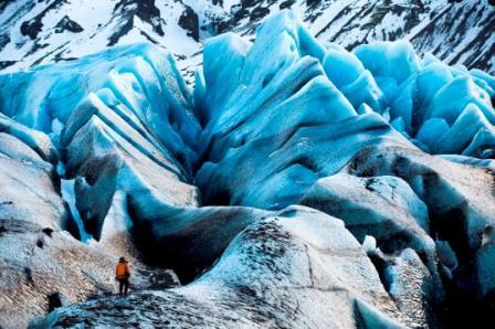 2.12.08   Iceland/Svínafellsjökull Glacier An EIS team member provides scale in a massive landscape of crevasses on the Svínafellsjökull Glacier in Iceland.