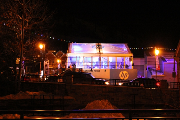 HP Lounge all lit up.