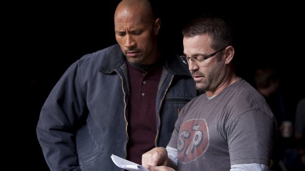 Ric Roman Waugh with Snitch star Dwayne Johnson