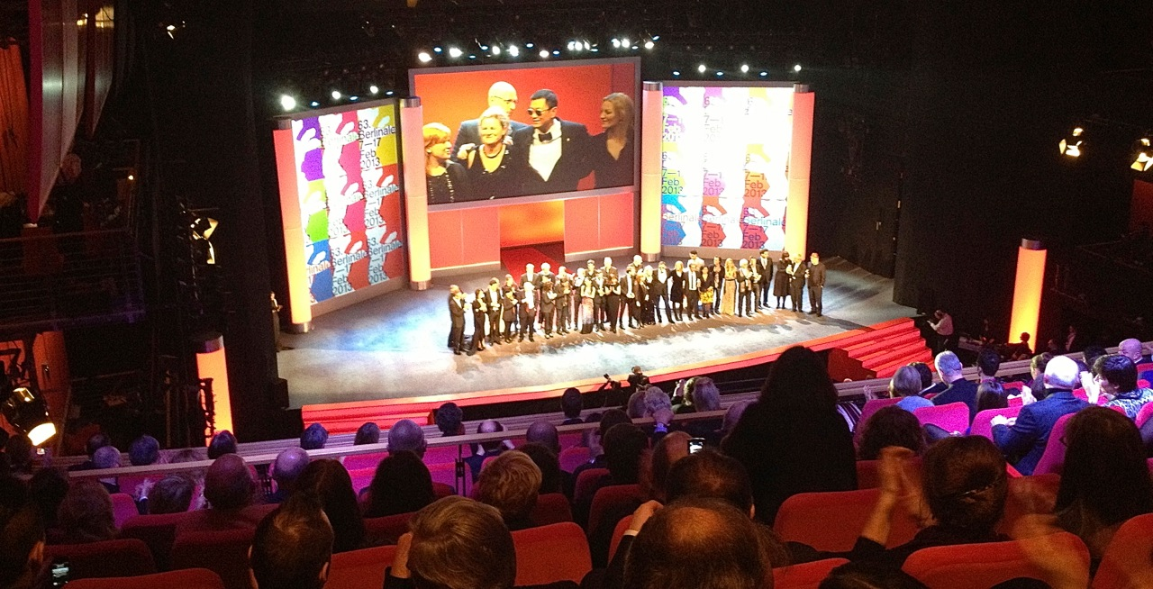 Berlinale Jury president Wong Kar-wai with jurors Susanne Bier, Ellen Kuras, Tim Robbins, Athina Rachel Tsangari, Shirin Neshat, Andreas Dresen and winners of Golden and Silver Bears.