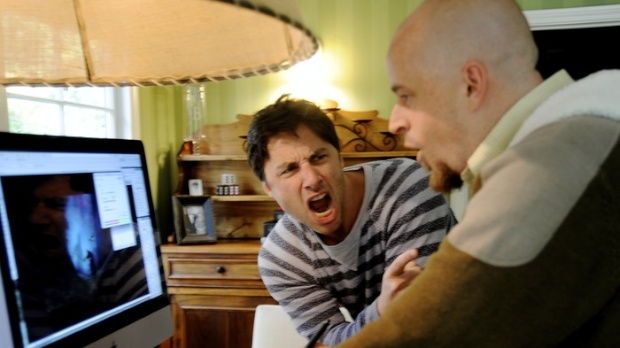 Zach Braff with VFX artist Colin Fix.