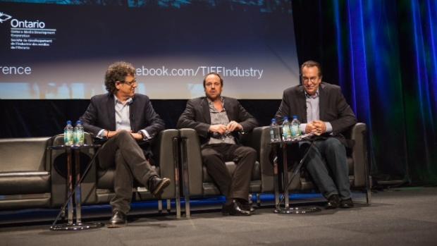 (l to r): Jim Berk, CEO, Participant Media; Jeff Skoll; Steve Gaydos, Variety magazine
