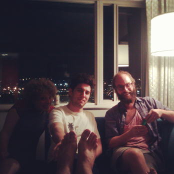 In a late night hotel room, Leah Shore, Jeremy Teicher and Ben Sinclair.