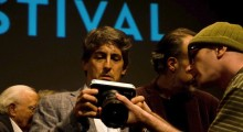 Alexander Payne, Jamie Stuart and the Blackmagic Cinema Camera. (Photo: Matthew Schuchman.)