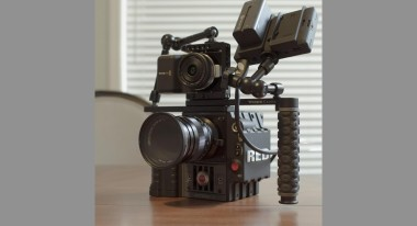 Blackmagic Pocket camera mounted on top of RED Scarlet