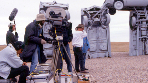 Dan Mirvish shooting Omaha (the movie) at Carhenge in Alliance, Nebraska.