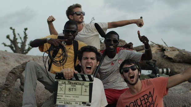 Jeremy Teicher (center) and crew after wrapping Tall as the Baobab Tree