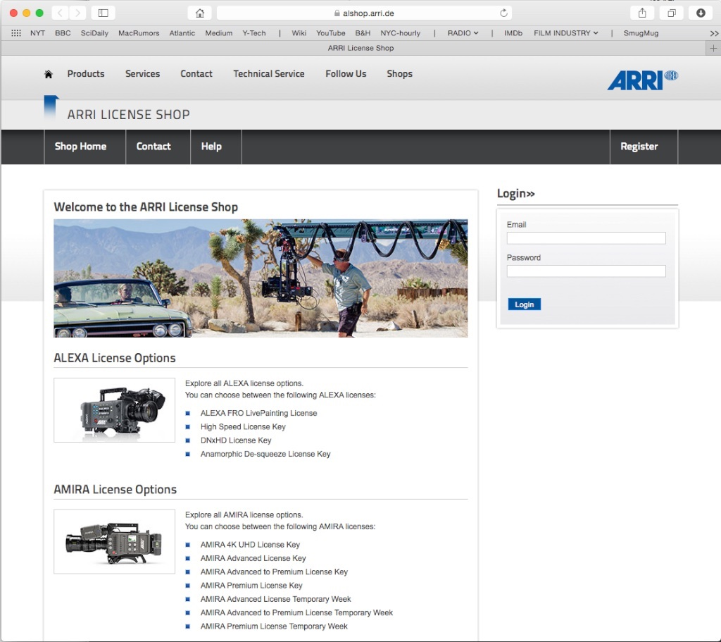 ARRI License Shop, where you buy or rent added features and codecs for your Alexa or Amira.