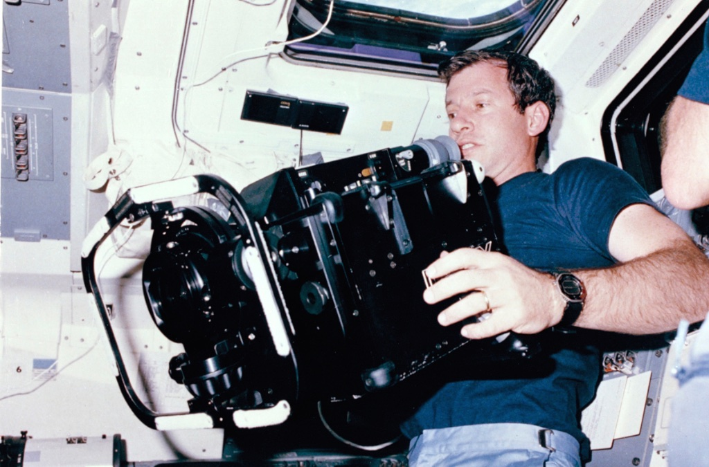 Perfect balance and weight if not size: 70-pound IMAX camera aboard Challenger in 1984.