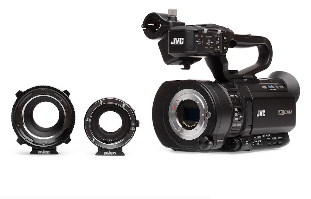JVC's GY-LS300 uses a Micro Four Thirds lens mount over a Super35 sensor, which is unique. Metabones adapters allow use of PL and Canon EF lenses.