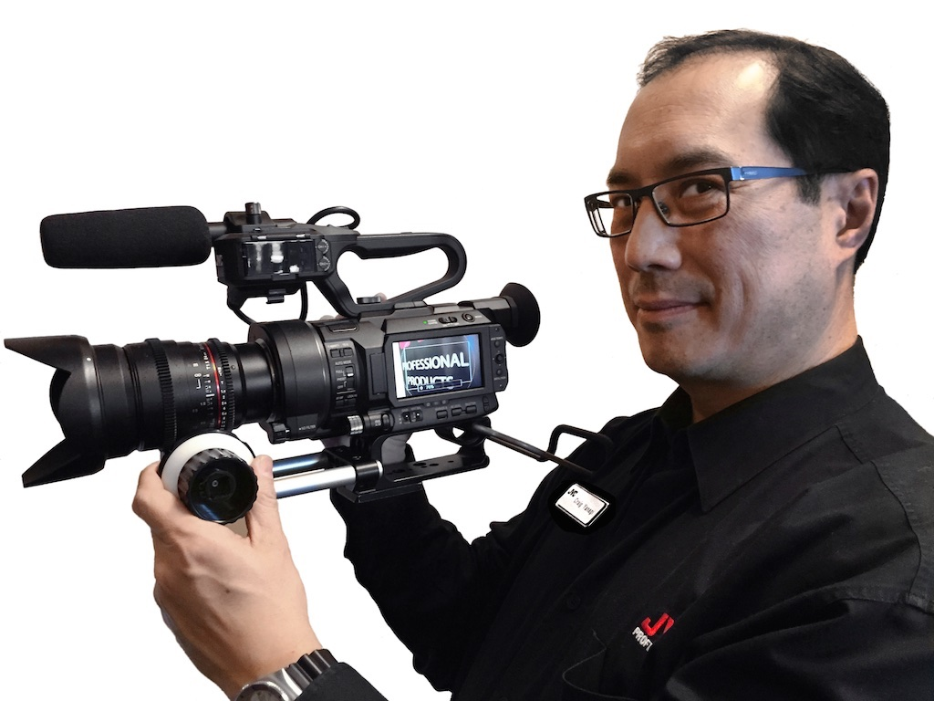 JVC's Craig Yanagi sneak-previewing the GY-LS300 4KCAM at the Sundance Film Festival in January.