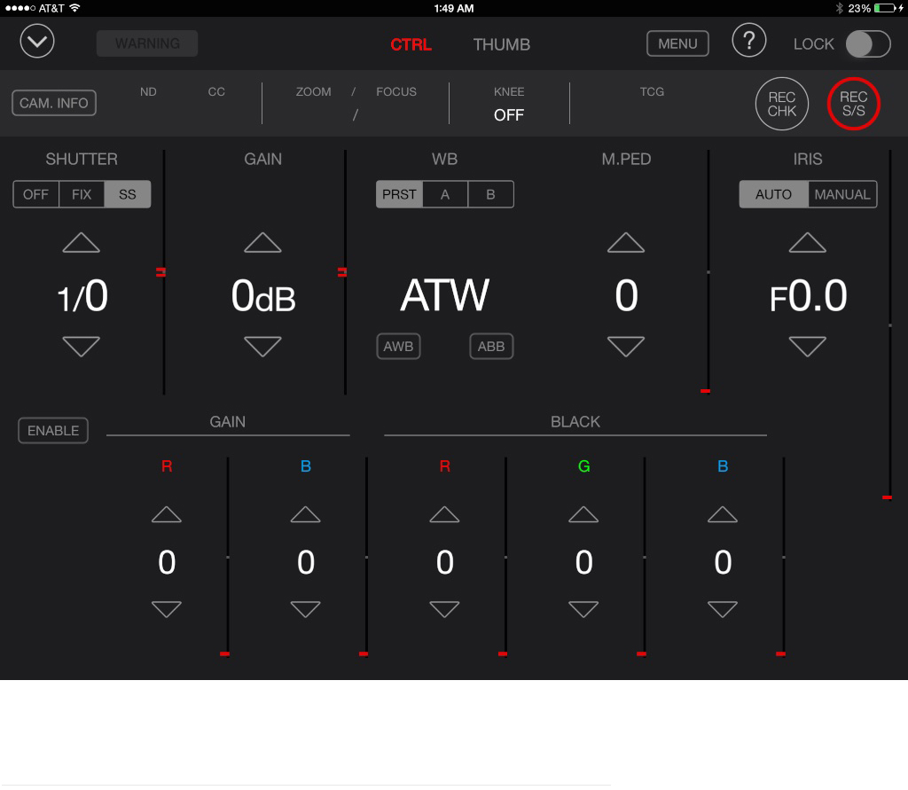 Panasonic P2 ROP (Remote Operation Panel) for iPad, free at the App Store. Wireless remote control of start/stop, iris, shutter, white balance, black balance, lift, gain, and more.