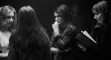 Chloé Robichaud (center) on the set of Féminin/Féminin