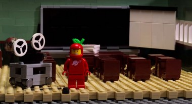 A frame from an animated Lego sequence: A LEGO Brickumentary