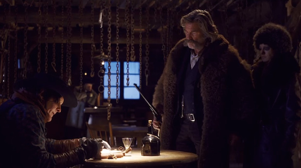 Michael Madsen, Kurt Russell and Jennifer Jason Leigh in The Hateful Eight