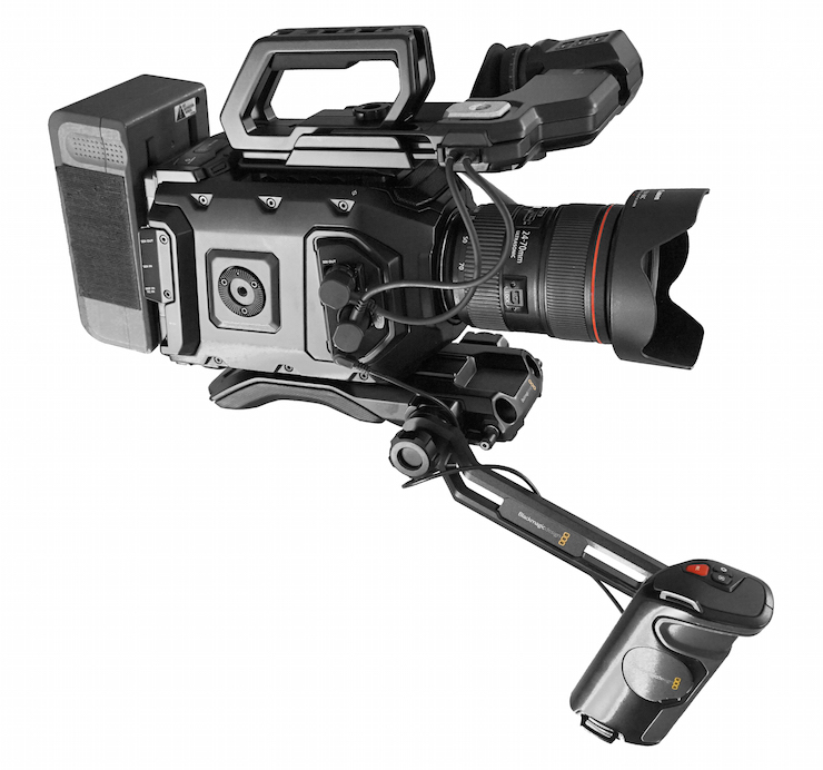 All-metal Blackmagic Design URSA Mini 4K with EF mount, about $3000. Pictured hand-held rig includes URSA Viewfinder, URSA VLock Battery Plate, and URSA Mini Shoulder Kit, which lifts total to $4980 — without Canon 24-70 L-Series zoom, brick battery not included. In either configuration, a remarkable value.