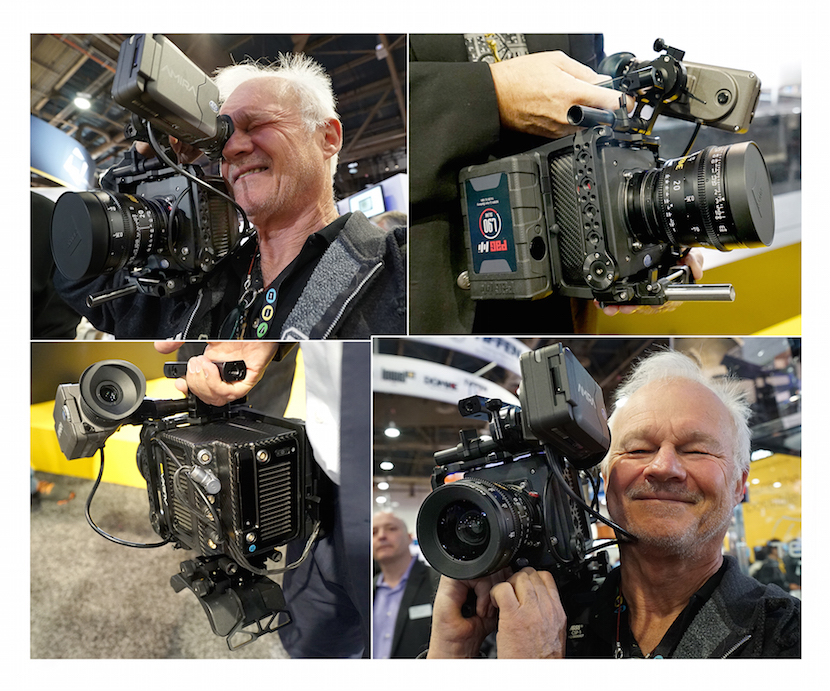 Love at first sight. Upon his first encounter with Alexa Mini at NAB 2015, DP Rodney Charters (TV series 24, Shameless, Dallas) declares this is the only Alexa he will use in the future. Note the cage!