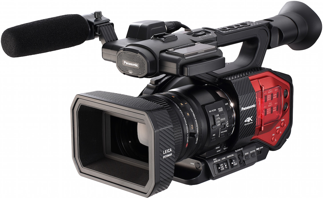 Distinctive with a bright red tail, Panasonic's AG-DVX200 4K camcorder features a fixed, optically stabilized Leica 13x zoom and a 4/3-in. sensor identical in size to the one in the Micro Four Thirds DMC-GH4 — making the chunky DVX200 the fixed-zoom, hand-held camcorder with the largest sensor. Like the GH4 (after upgrade), it offers a V-Log L gamma curve for a two-stop increase in dynamic range. In HD mode, it can capture 1080p at 120 fps.