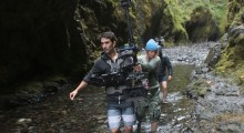 Lining up our first shot only seconds before an internal component broke on the Steadicam, sending the camera, lens and accessories plunging into the water. Miraculously we were back up and running with another body from Portland a few hours later and salvaged the day. (Photo courtesy of Sean Porter)