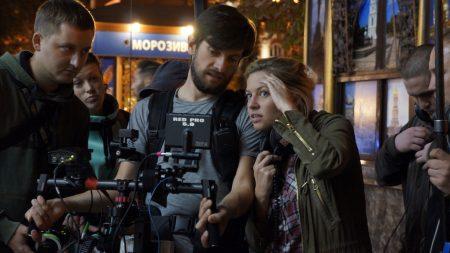 Sashcko Roshchyn and Roxy Toporowych on the set of Julia Blue