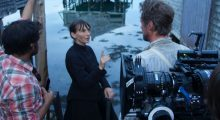 Erica Fae directing on the set of To Keep the Light