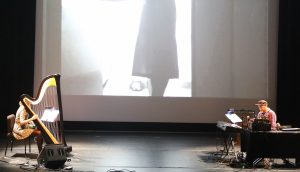 Mary Lattimore and Jeff Zeigler performing their score for Le Révélateur (Photo by Sarah Cooper)