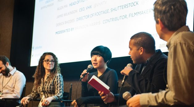 Aliza Ma, flanked by Missy Laney and Brandon Harris, at IFP Film Week