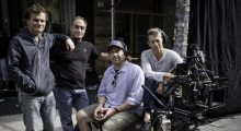 What's the saying?  Surround yourself with people smarter than you?  Here I'm standing with nearly 100 years of collective filmmaking experience (myself not included).  From left to right: yours truly, Dolly Grip Frank Proscia, Steadicam Operator David Thompson, and A-Cam Operator Charles Libin. (Photo courtesy of Macall Polay)
