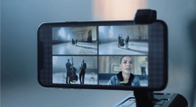 Four camera angles displayed on the iPhone with FiLMiC Pro